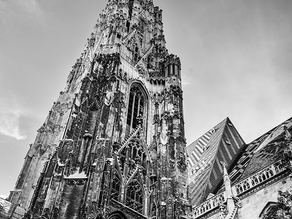 Black and white image of the South Tower