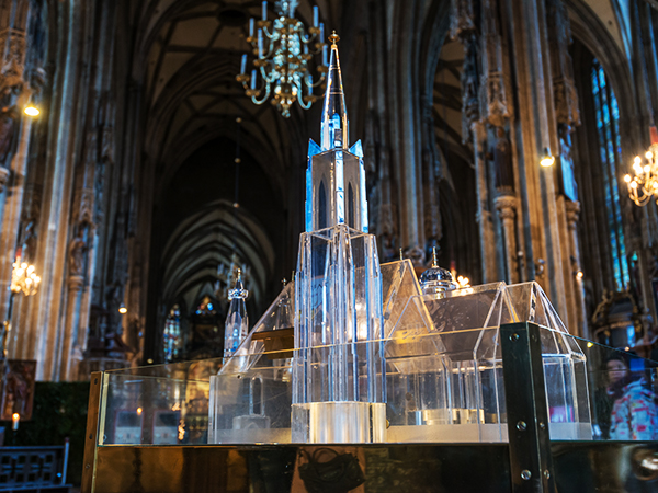 Transparent donation box in the cathedral in the shape of St. Stephen's Cathedral