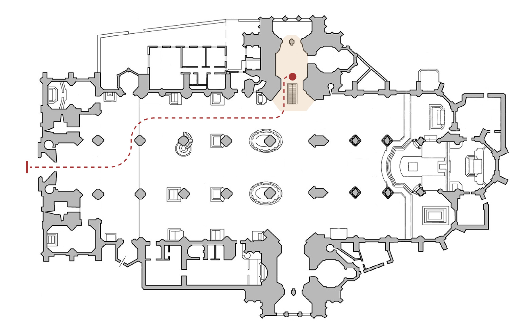 Floor plan of the catacombs