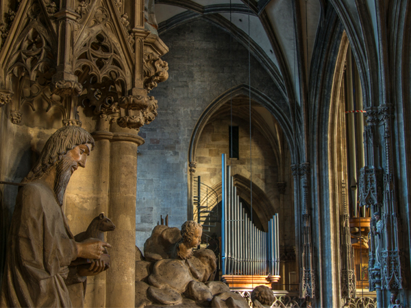 Cathedral with statues and parts of the giant organ