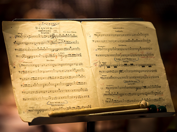 Music stand with the music for a concert
